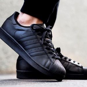 Adidas All Black Superstar Sneakers, sz 7.5